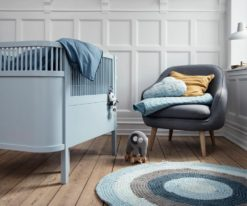 The Sebra Bed in cloud blue and pull-along elephant