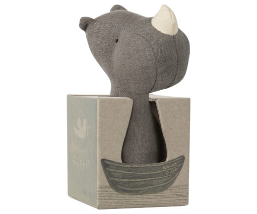 Maileg Nohah's friend Rihno rattle in a box