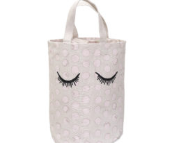 Bloomingville Eyes storage bag in rose and white
